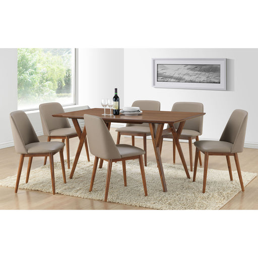 "BAXTON STUDIO LAVIN MID-CENTURY ""WALNUT"" LIGHT BROWN WOOD 7PC DINING SET"
