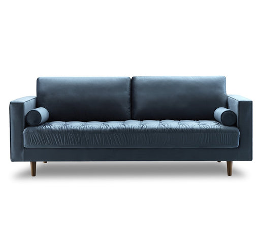 Bente Tufted Velvet 3-Seater Sofa - Light Blue