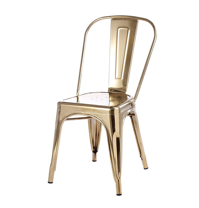 Tolix Style Dining Chair - Gold - Reproduction