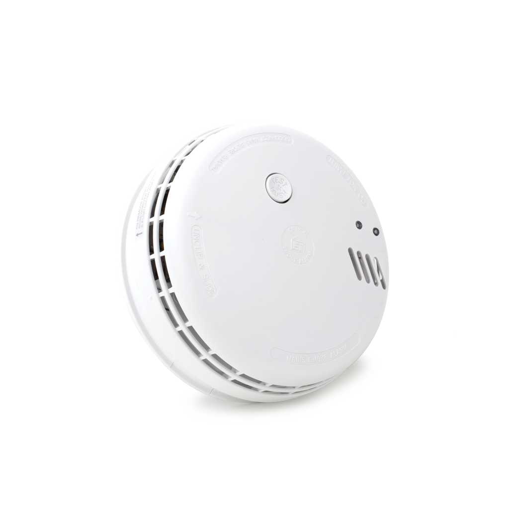 Photoelectric 230-volt Smoke Alarm with 9-volt Alkaline battery back-up