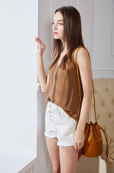 Tahari Sleeveless Top Brown