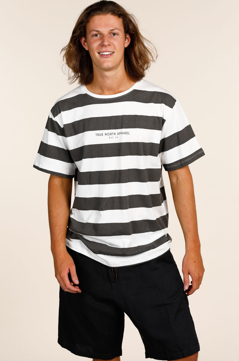 South Port Tee Charcoal/White Stripe