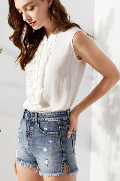 Lucy Peasant Top White