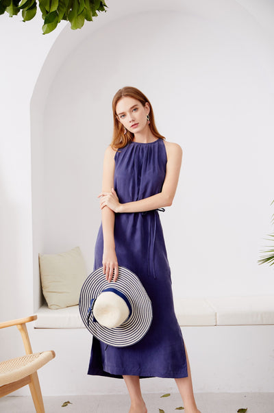Cupro Midi Dress Navy