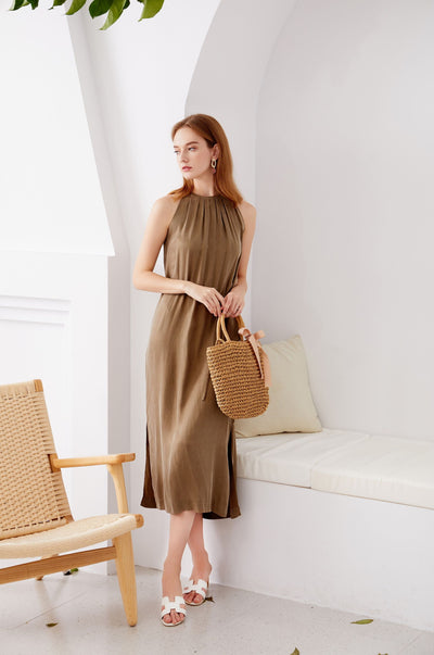 Cupro Long Dress Khaki