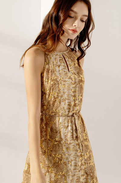 Kerris Snake Dress Gold