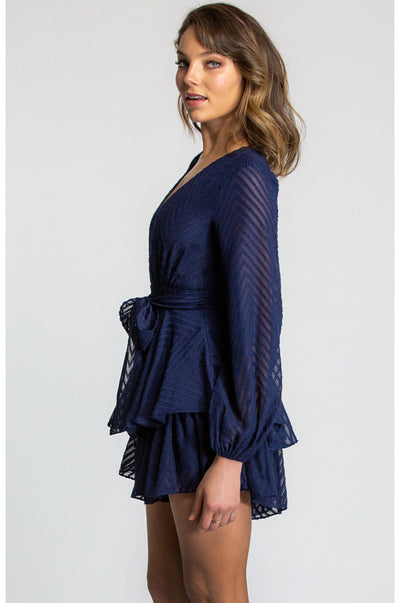 Amber Ruffle Playsuit - Navy