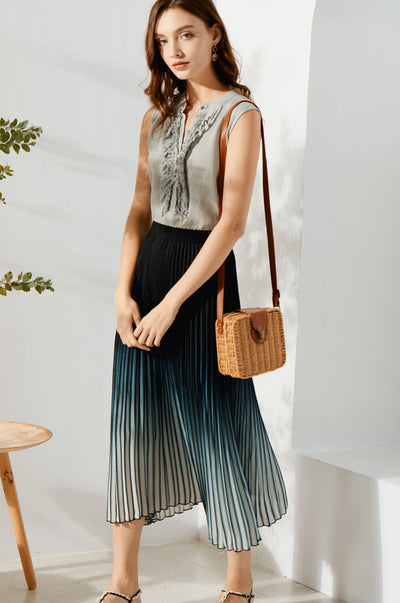 Valerie Pleated Skirt - Blue