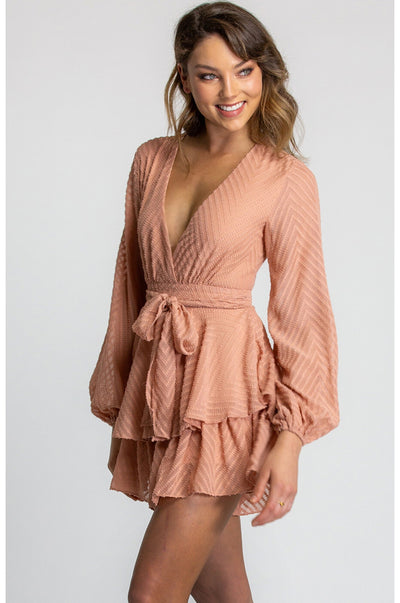 Amber Ruffle Playsuit Peach