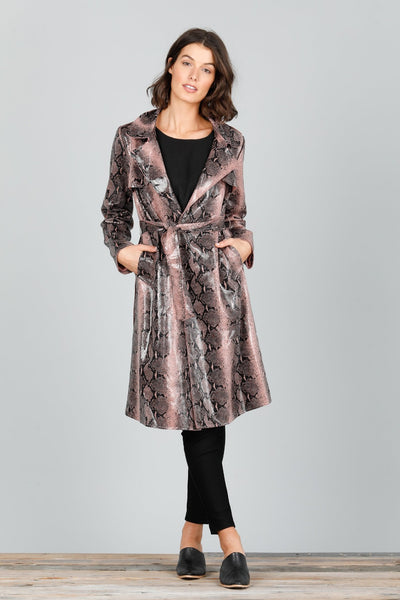 Safari Trench Coat - Pink Snake