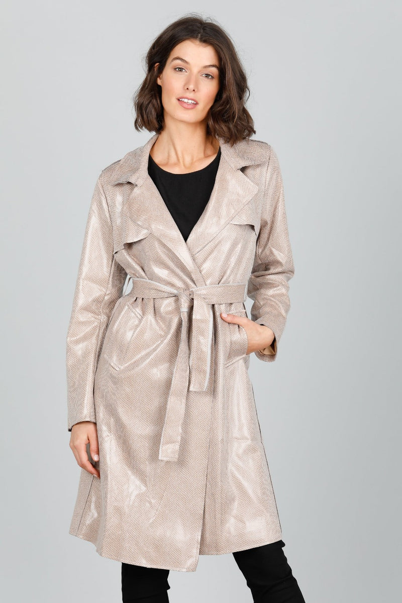 Safari Trench Coat - Beige Snake