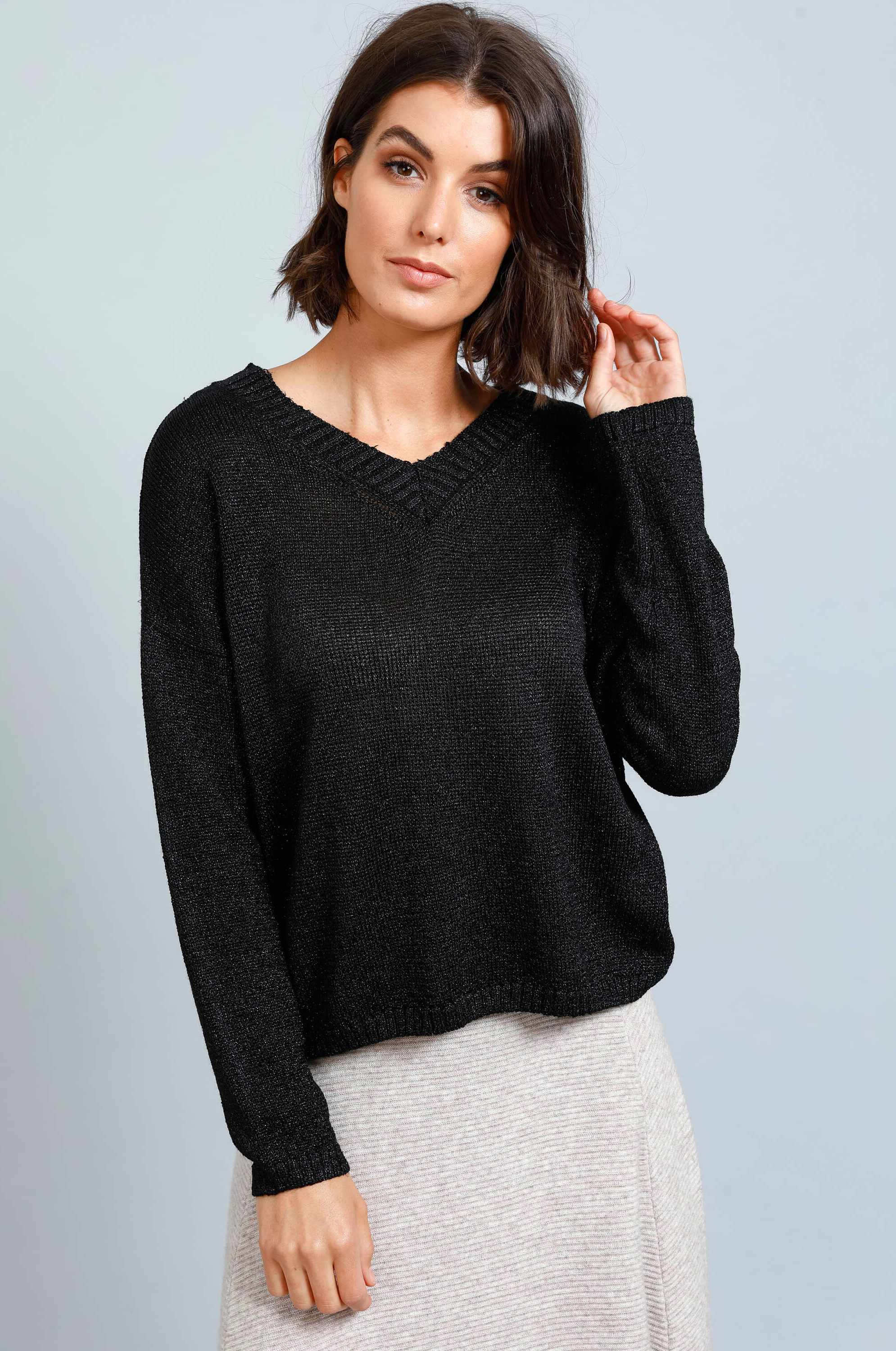 Ebony Sparkle Knit - Black