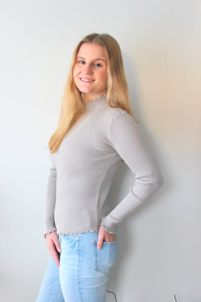 Ellie Knit Top - Grey