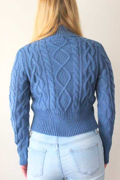 Isla Cable Crop Knit - Blue