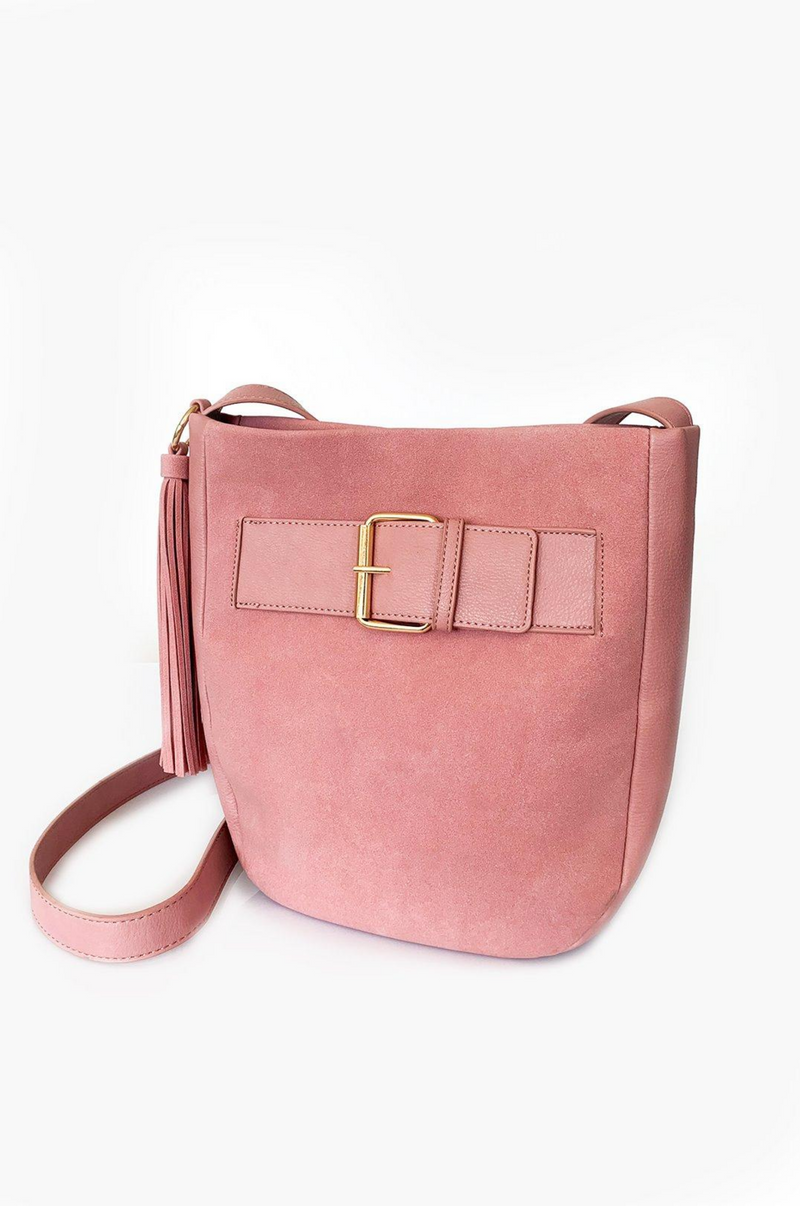 Cleo Pink Bucket Tassel Bag