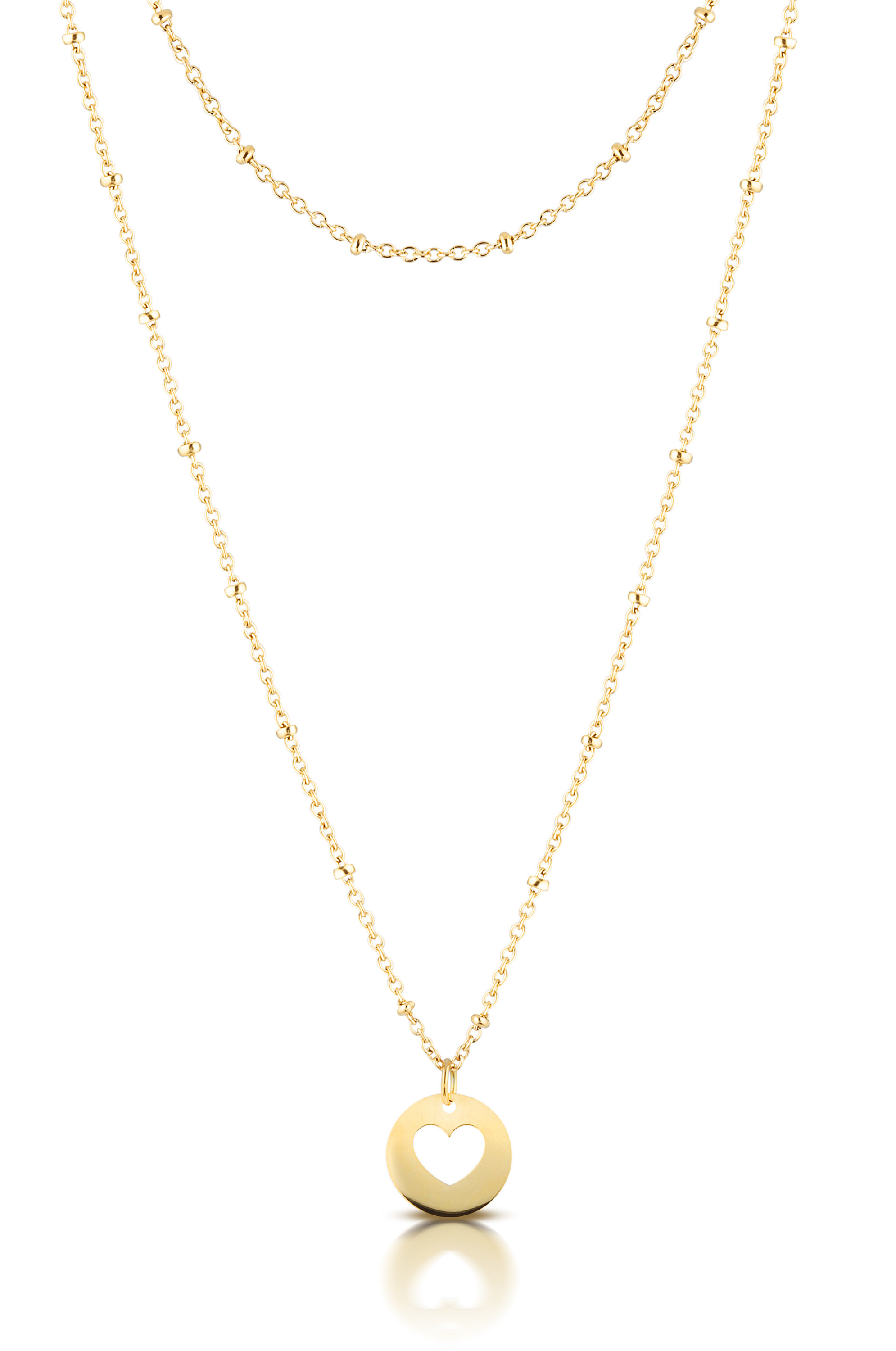 Aaina - Yellow Gold Heart Ball Necklace