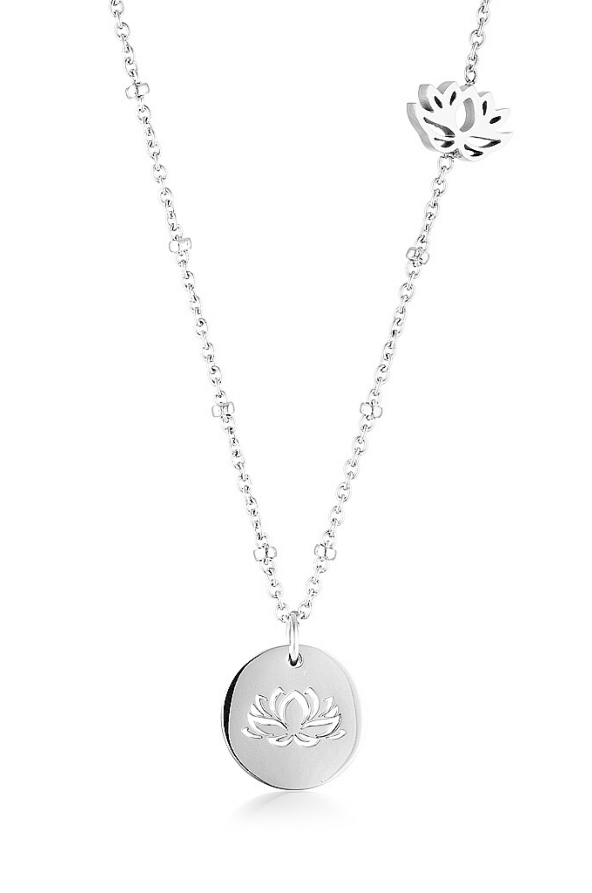 Aaina - Silver Lotus Necklace
