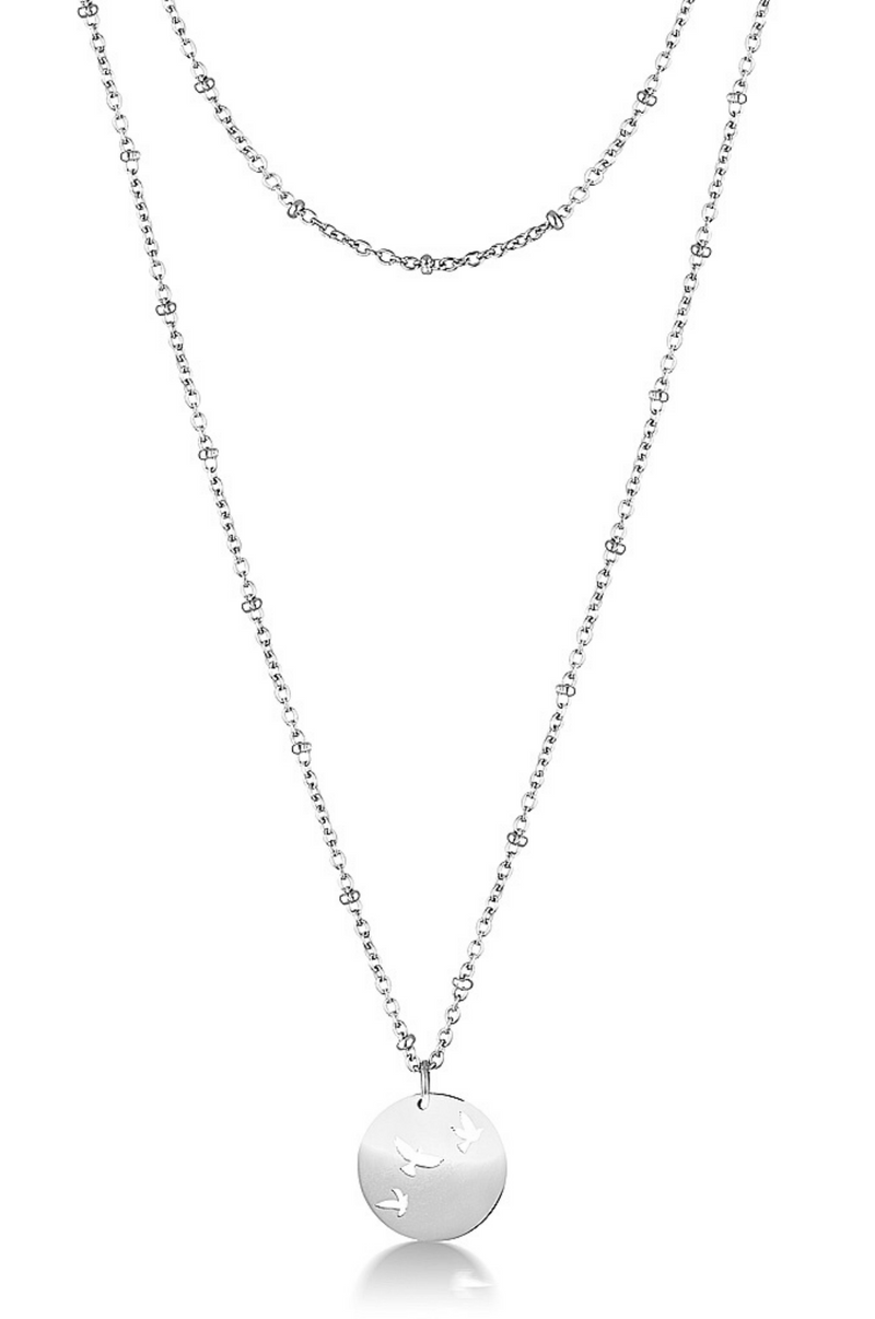 Aaina - Bird Symbol Ball Necklace in Silver