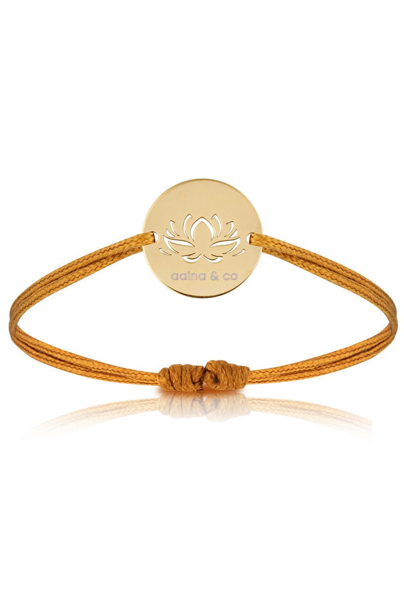 Aaina - Yellow Gold Lotus Cord Bracelet in Mustard