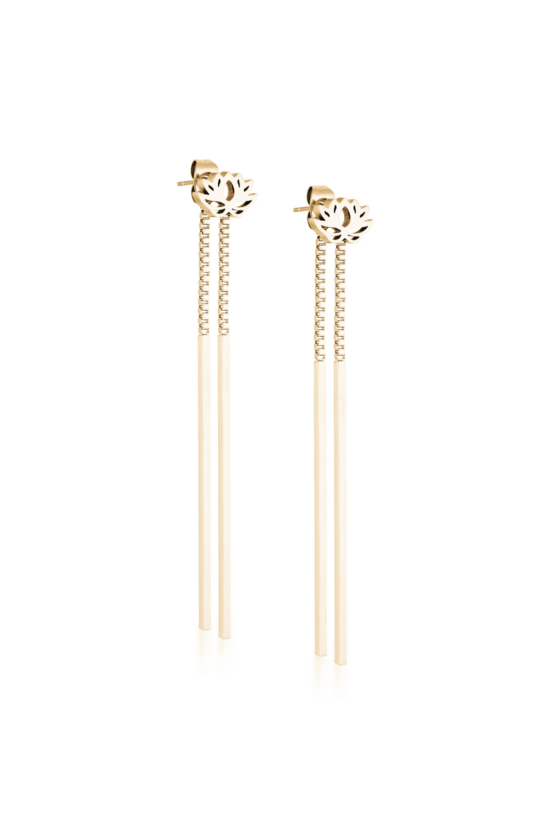 Aaina - Yellow Gold Lotus Earrings