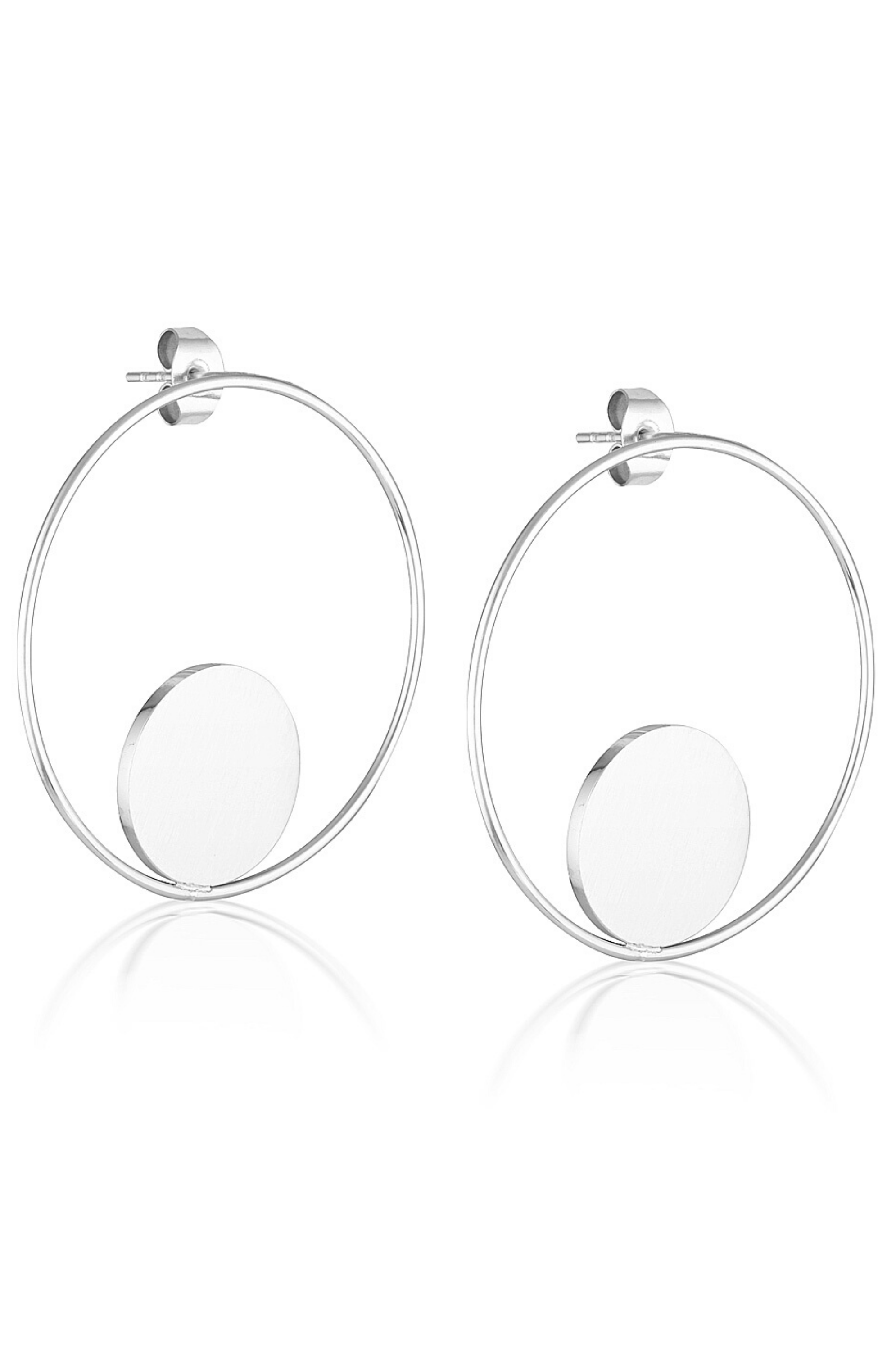 Aaina - Circle Of Life Hoops - Silver