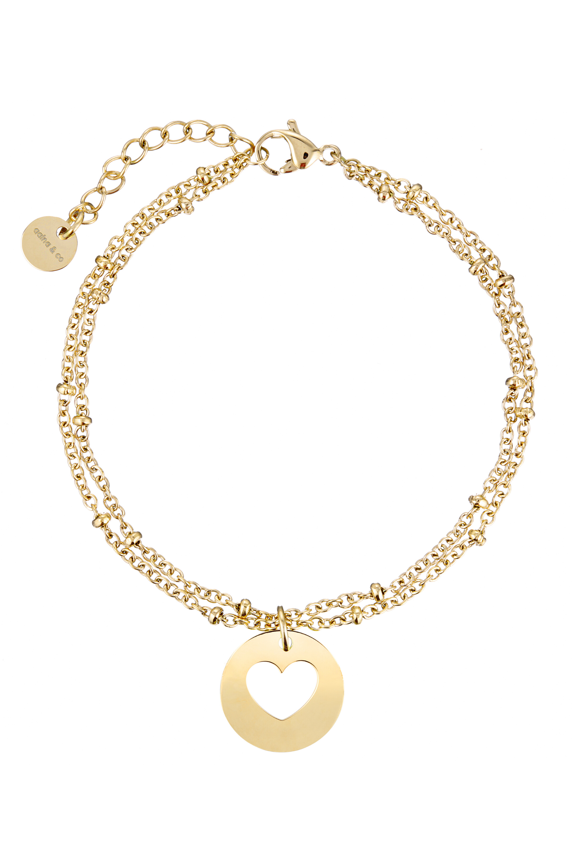 Aaina - Yellow Gold Heart Ball Bracelet