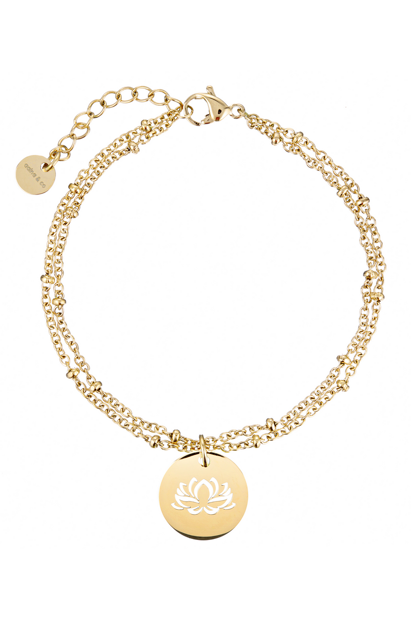 Aaina - Yellow Gold Lotus Ball Bracelet