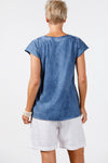 Fossey V Neck Tee Denim Blue