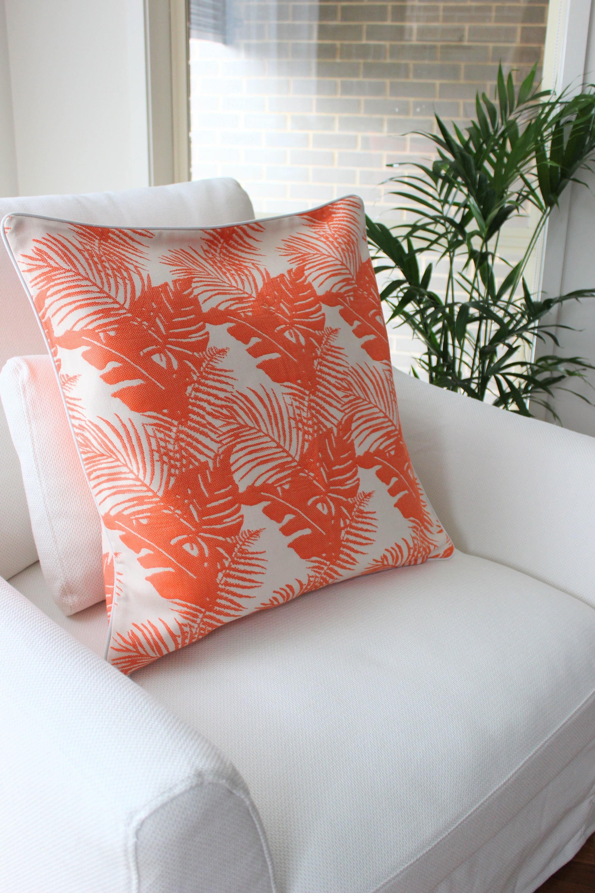 Tropical Palm Cushion - Coral