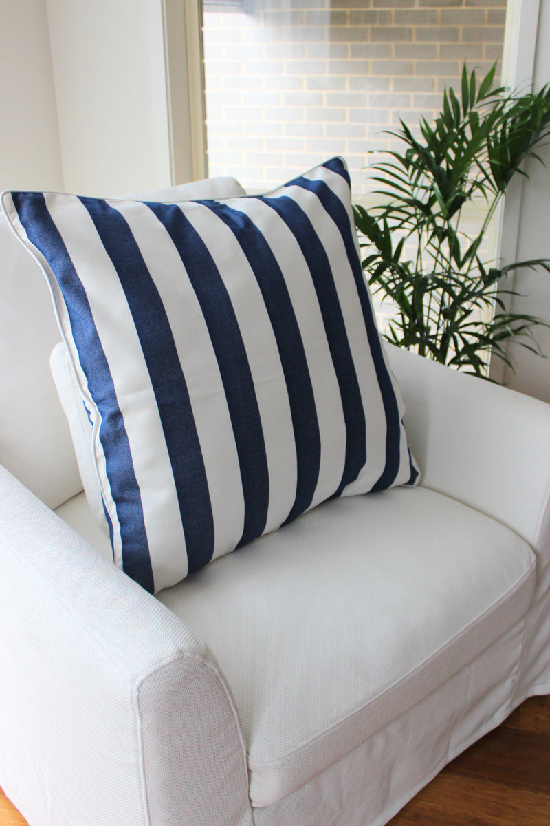 Beach Stripe Cushion - Navy