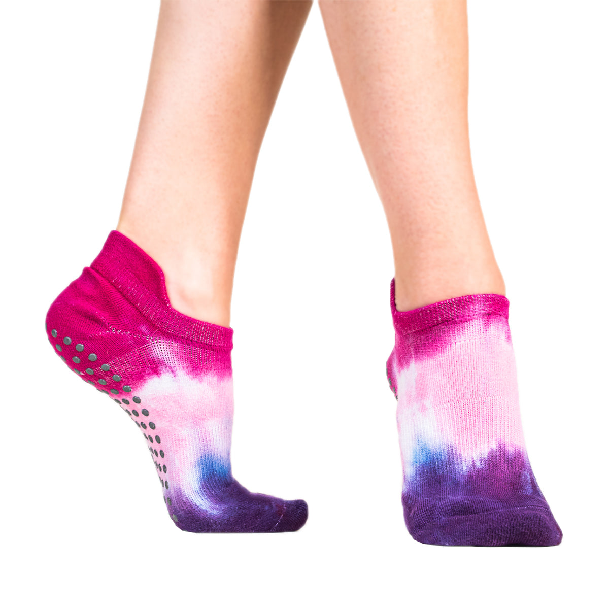 Avery Tie Dyed Grip Sock - Dahlia