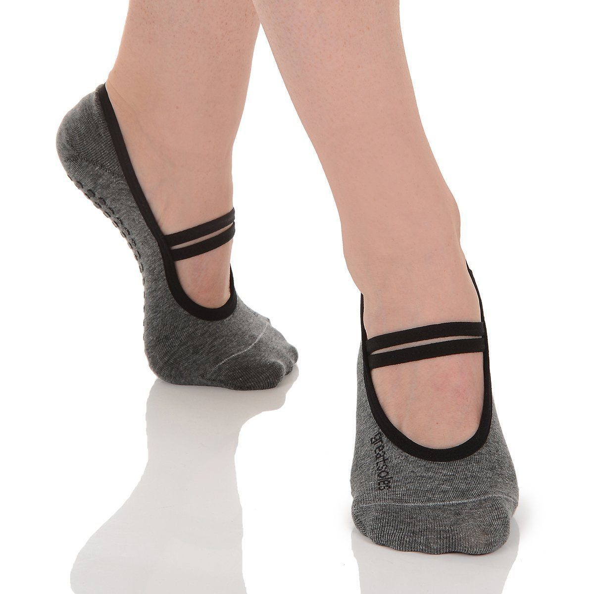 heather grey ballet  pilates non slip grip sock