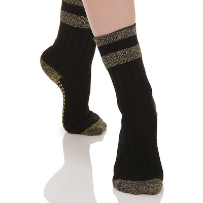 Elle Grip Sock - Black/Gold