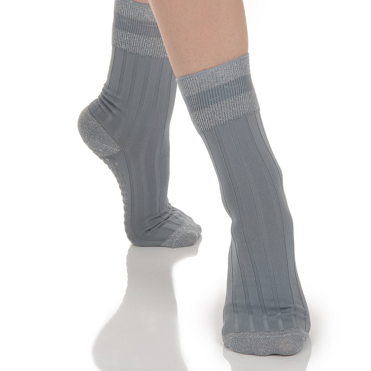 Elle Grip Sock - Grey/Silver