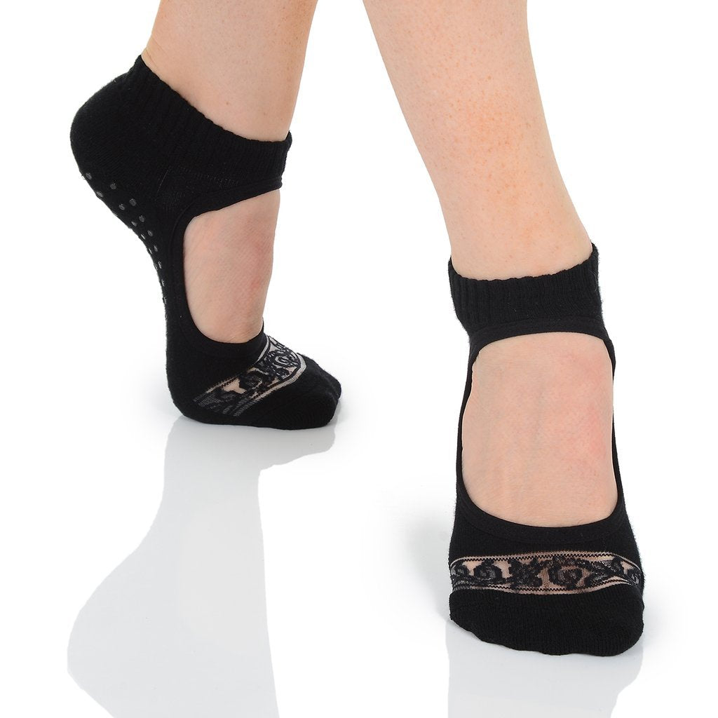 black lace  ballet  high cut  barre non slip grip sock