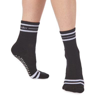 Jess Crew Grip Sock - Black/White