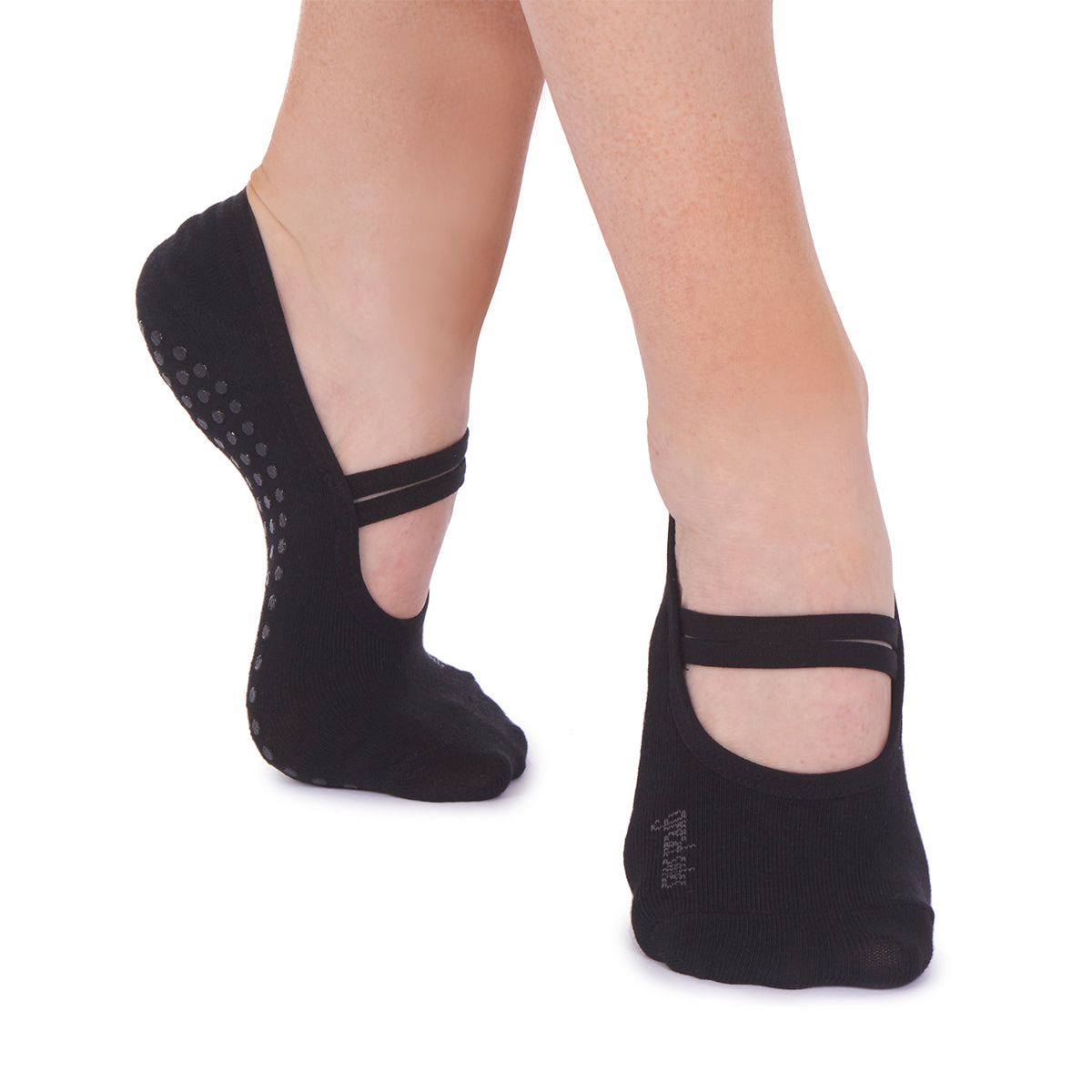 black ballet pilates non slip grip sock
