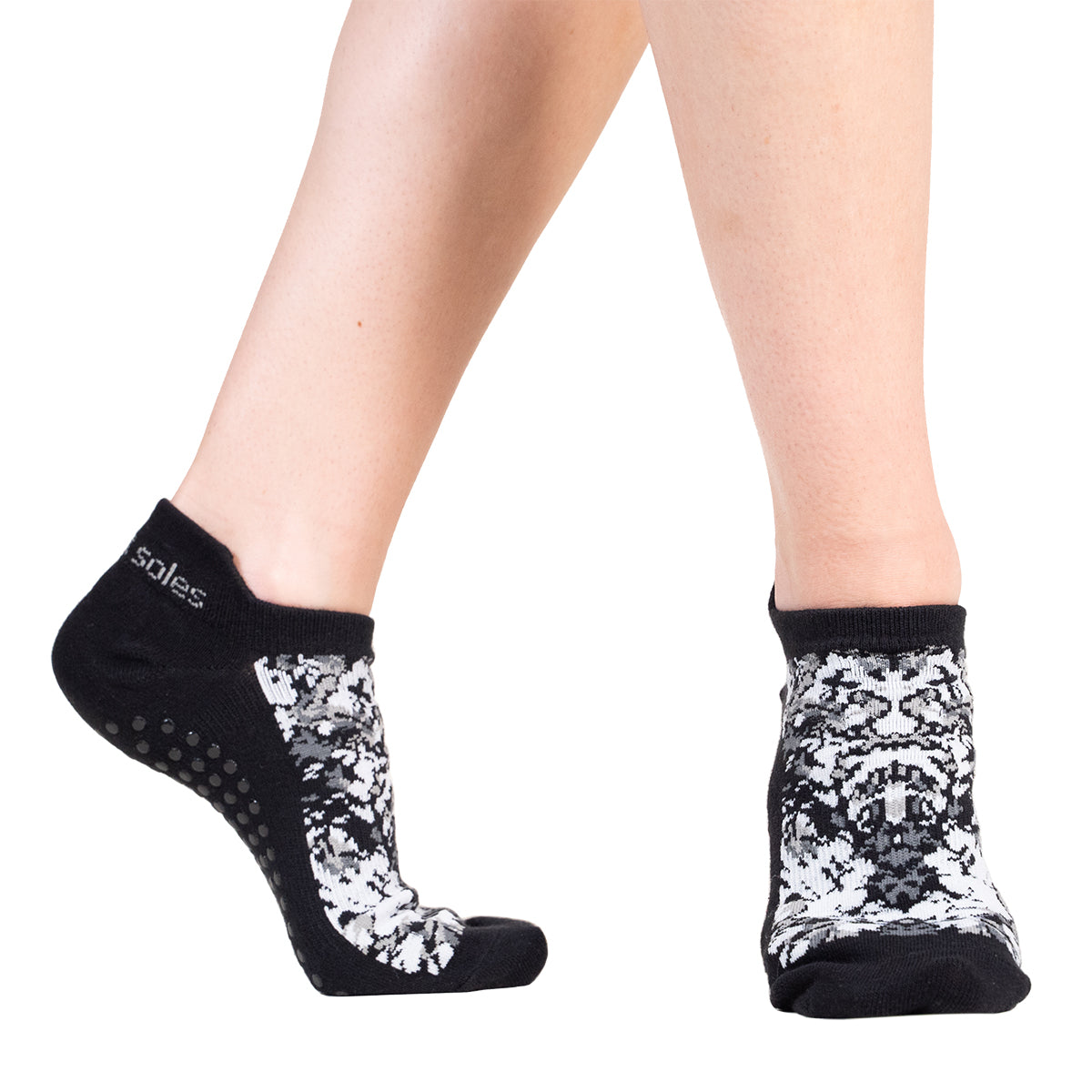 Japanese black and white pattern Grip sock for Pilates Barre,Yoga, and home