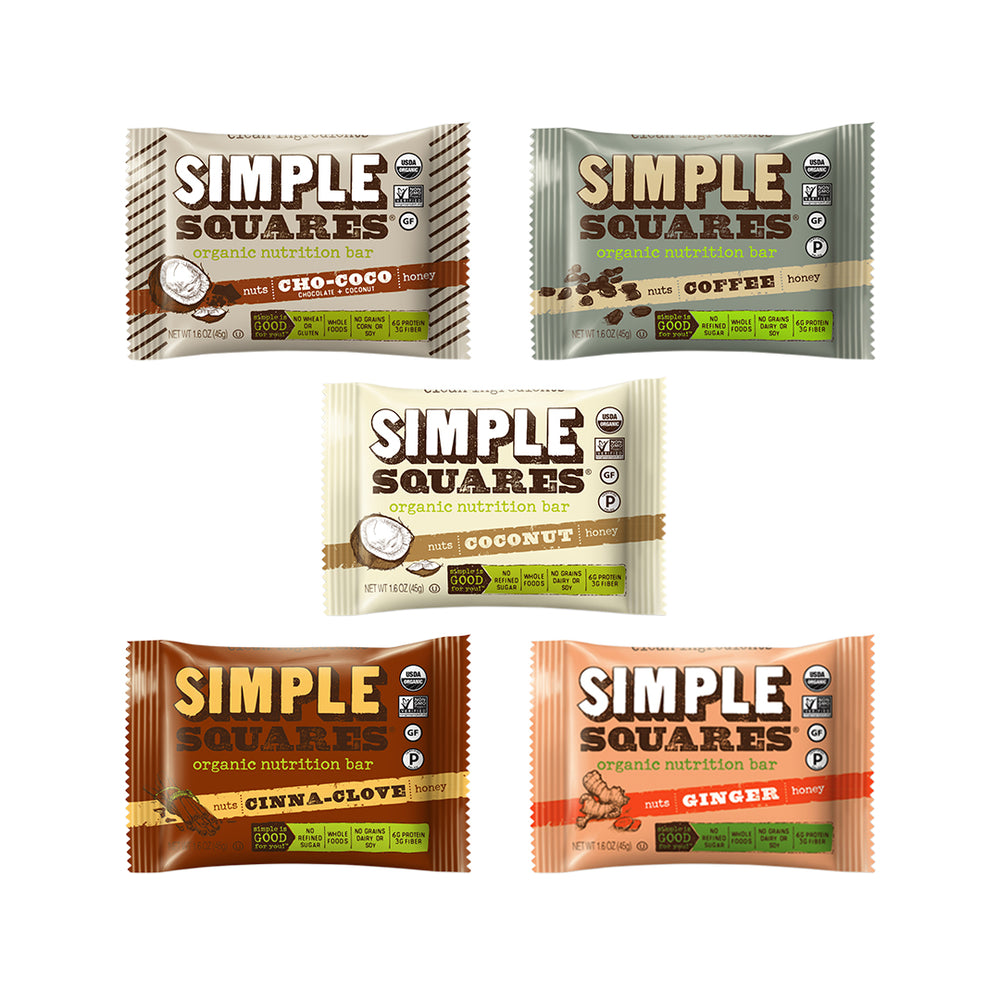 Variety Pack Simple Squares Nutrition Bars (Box of 12)