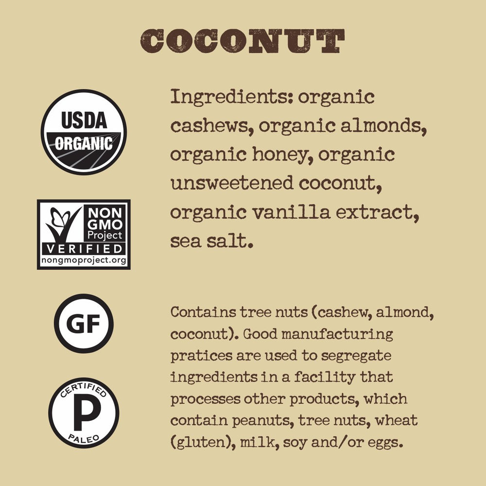 Organic Coconut Nutrition Bar (Box of 12)
