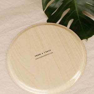 Round Birch Wood Serving Tray – Sandstone