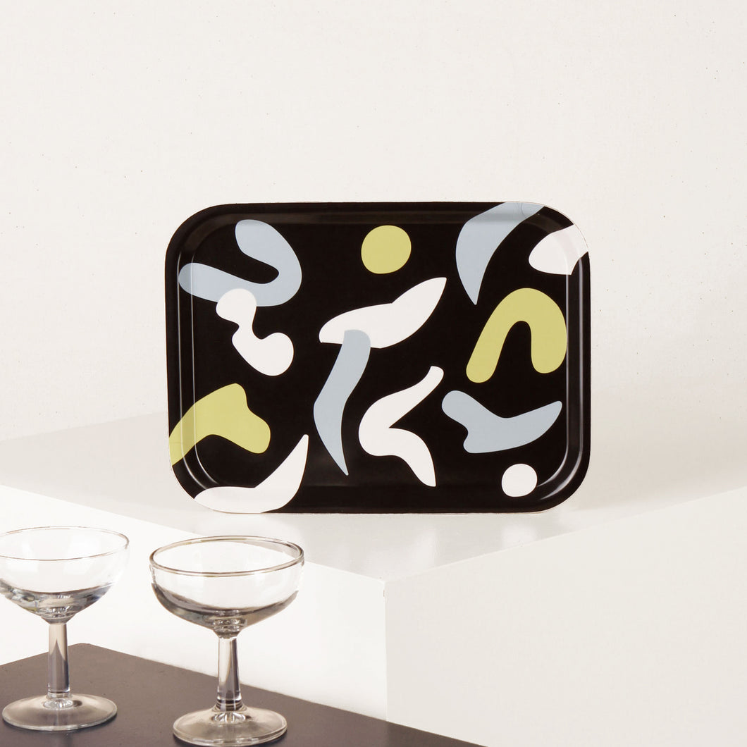 Birch Wood Tray - Abstract Shapes - Black