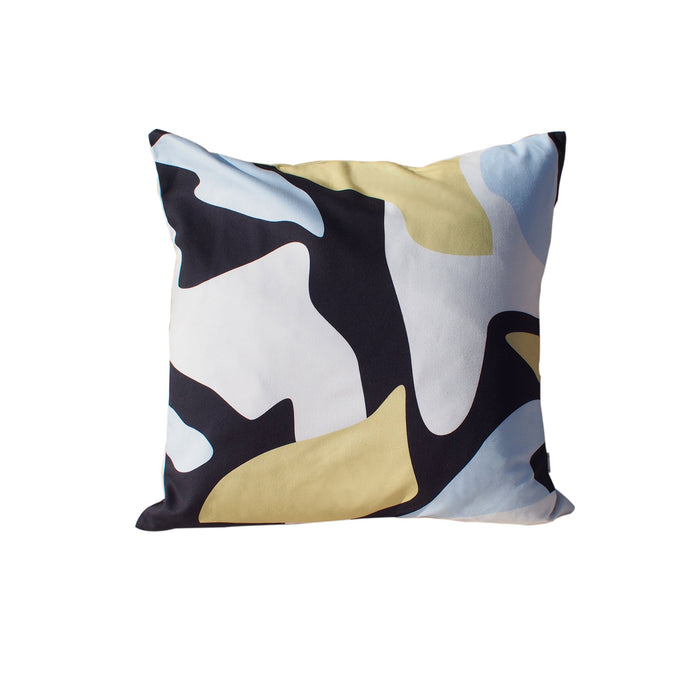 Abstract Print Cushion - Black / Yellow