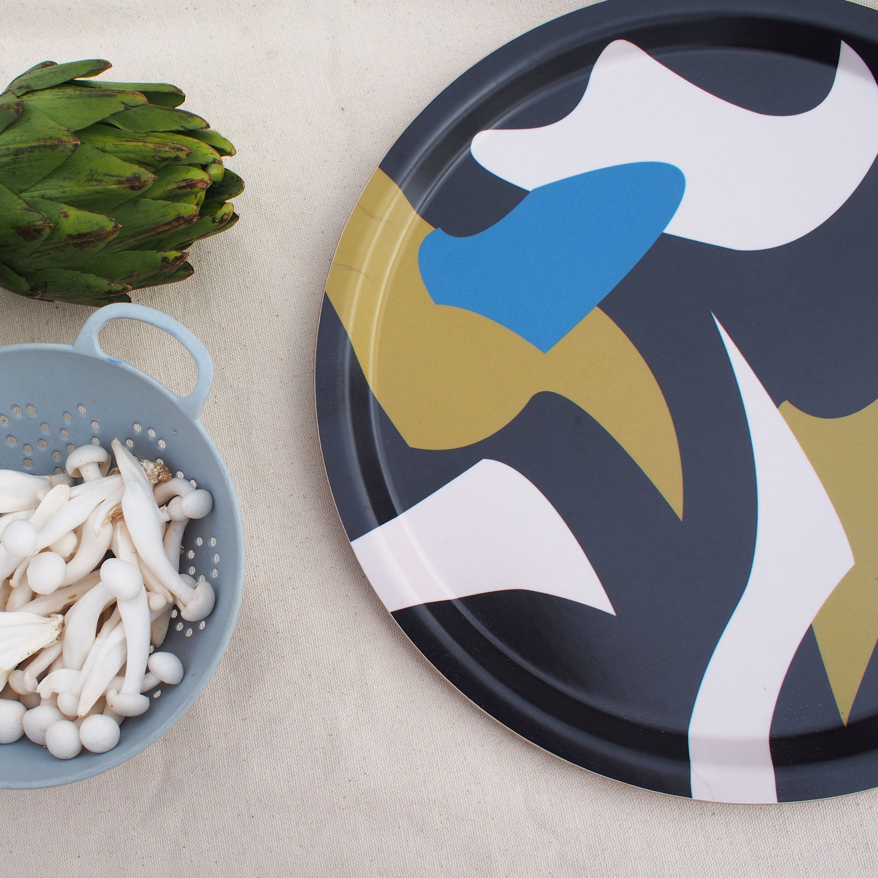 Fabulous Round Birch Wood Serving Tray Black Blue Form And Trace Machost Co Dining Chair Design Ideas Machostcouk