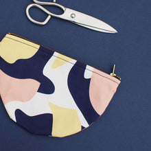 Load image into Gallery viewer, half-circle-cotton-purse-form-and-trace-pink-navy