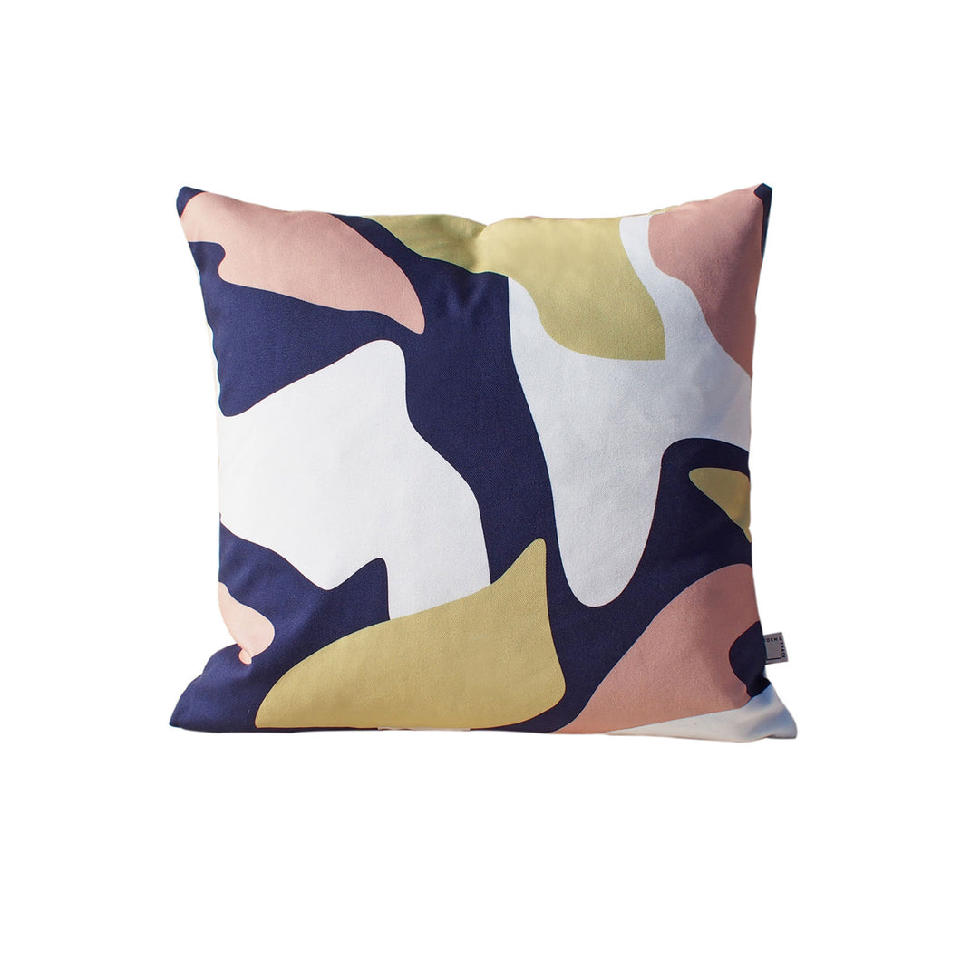 Abstract Pattern Cushion - Navy and Pink