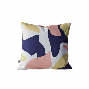 Abstract Print Cushion - Navy / Pink