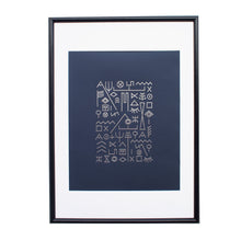 Load image into Gallery viewer, typographic-foil-print-poster-navy-silver