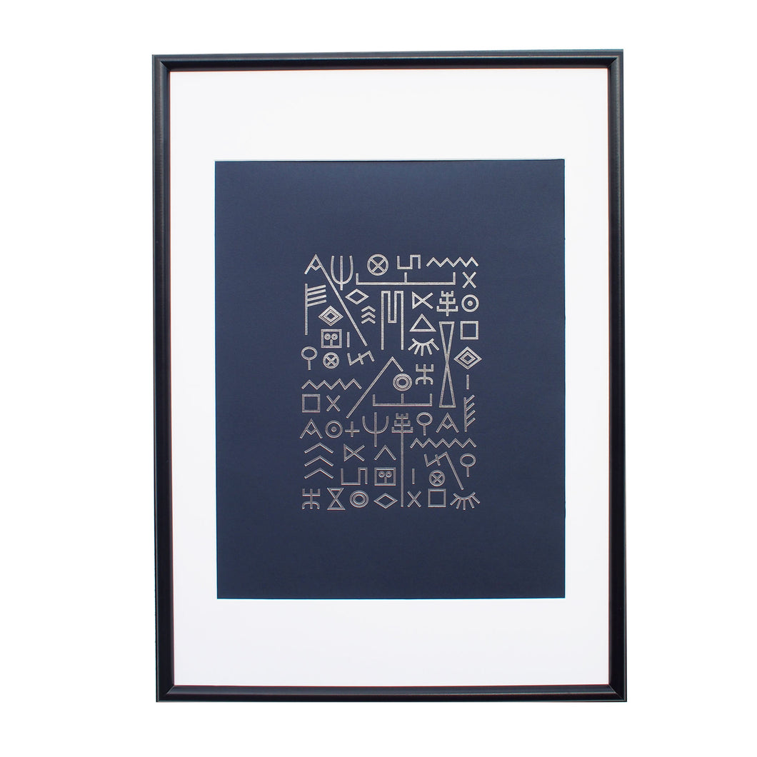 typographic-foil-print-poster-navy-silver