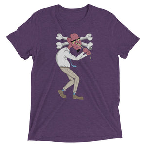 Purple Graphic Tee depicting Tom as he tries to pull snot from his nose, causing his head to cave.